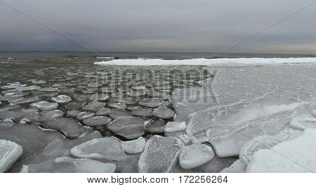oval ice floes on the seaside winter coast panorama