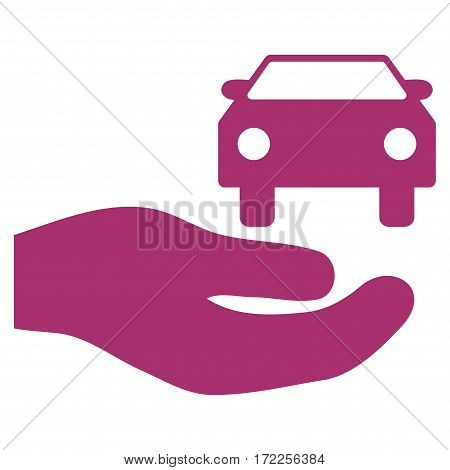 Car Gift Hand flat icon. Vector purple symbol. Pictograph is isolated on a white background. Trendy flat style illustration for web site design logo ads apps user interface.