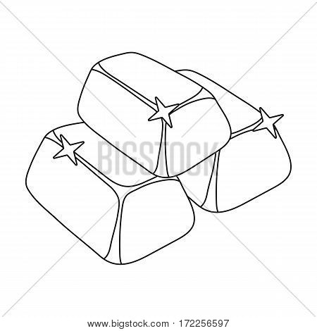 Stack of golden bars icon in outline design isolated on white background. Precious minerals and jeweler symbol stock vector illustration.