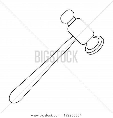 Jewelry hammer icon in outline design isolated on white background. Precious minerals and jeweler symbol stock vector illustration.