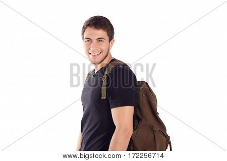 Portrait of young latin student with a backpack. Isolated white background.