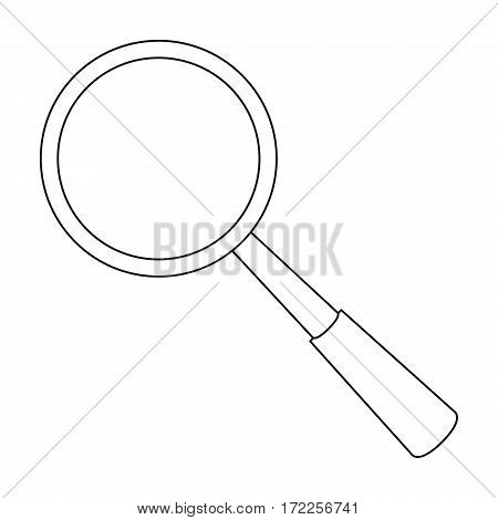 Magnifying glass icon in outline design isolated on white background. Precious minerals and jeweler symbol stock vector illustration.