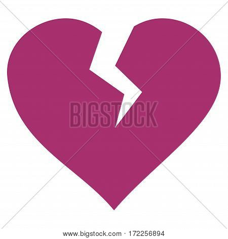Heart Break flat icon. Vector purple symbol. Pictograph is isolated on a white background. Trendy flat style illustration for web site design logo ads apps user interface.