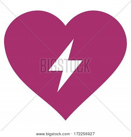 Heart Power flat icon. Vector purple symbol. Pictograph is isolated on a white background. Trendy flat style illustration for web site design logo ads apps user interface.