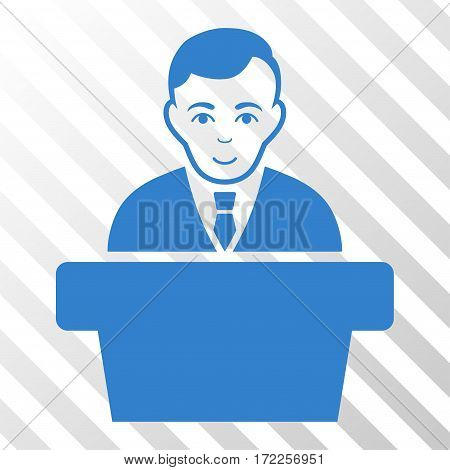 Cobalt Politician interface icon. Vector pictogram style is a flat symbol on diagonal hatch transparent background.