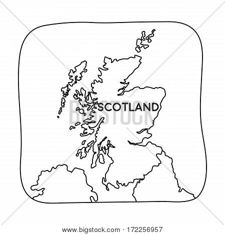 Territory of Scotland icon in outline design isolated on white background. Scotland country symbol stock vector illustration.