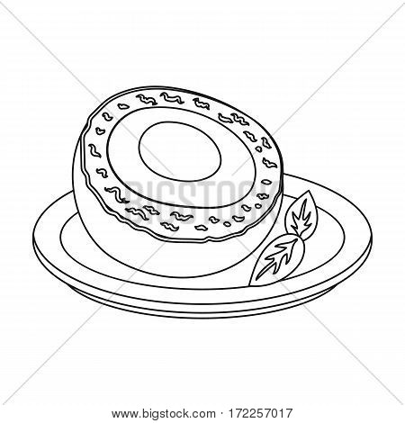 Scotch eggs icon in outline design isolated on white background. Scotland country symbol stock vector illustration.
