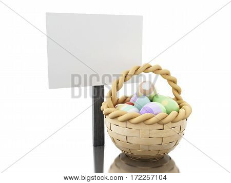 3D Easter Eggs In A Basket With Empty Blankboard