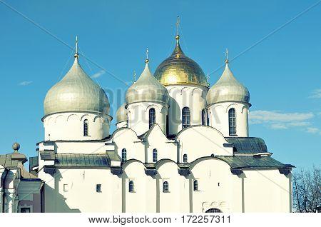 Veliky Novgorod Russia - closeup of Saint Sophia Cathedral domes. Vintage tones applied. Architecture view of Veliky Novgorod Russia