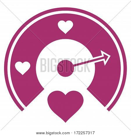 Love Gauge flat icon. Vector purple symbol. Pictograph is isolated on a white background. Trendy flat style illustration for web site design logo ads apps user interface.
