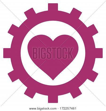 Love Heart Options Gear flat icon. Vector purple symbol. Pictograph is isolated on a white background. Trendy flat style illustration for web site design logo ads apps user interface.
