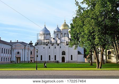 St Sophia Russian cathedral at sunny summer day in Veliky Novgorod Russia. Architecture landscape of Veliky Novgorod, Russia