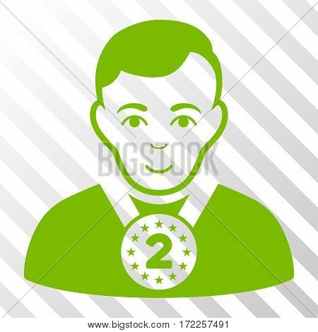 Eco Green 2nd Prizer Sportsman interface toolbar pictogram. Vector pictogram style is a flat symbol on diagonal hatch transparent background.