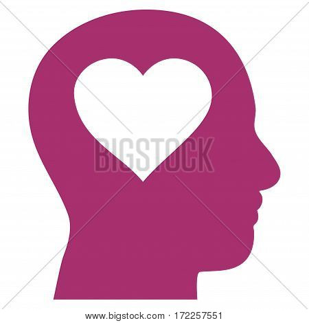 Love In Head flat icon. Vector purple symbol. Pictograph is isolated on a white background. Trendy flat style illustration for web site design logo ads apps user interface.