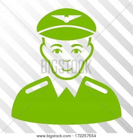 Eco Green Aviator interface toolbar pictogram. Vector pictogram style is a flat symbol on diagonal hatch transparent background.