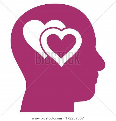 Love In Mind flat icon. Vector purple symbol. Pictograph is isolated on a white background. Trendy flat style illustration for web site design logo ads apps user interface.