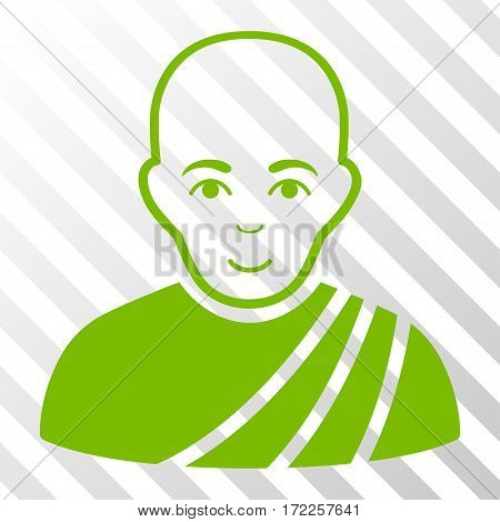 Eco Green Buddhist Monk interface toolbar pictogram. Vector pictogram style is a flat symbol on diagonally hatched transparent background.