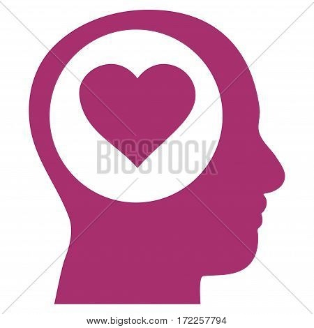 Love Thinking Head flat icon. Vector purple symbol. Pictograph is isolated on a white background. Trendy flat style illustration for web site design logo ads apps user interface.