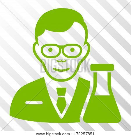 Eco Green Chemist interface toolbar pictogram. Vector pictogram style is a flat symbol on diagonal hatch transparent background.