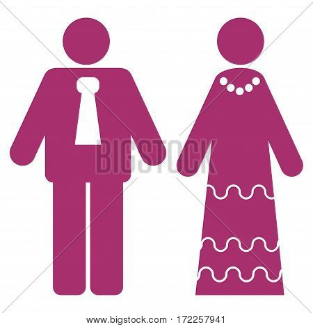 Newlyweds flat icon. Vector purple symbol. Pictograph is isolated on a white background. Trendy flat style illustration for web site design logo ads apps user interface.