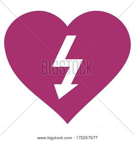 Power Love Heart flat icon. Vector purple symbol. Pictograph is isolated on a white background. Trendy flat style illustration for web site design logo ads apps user interface.