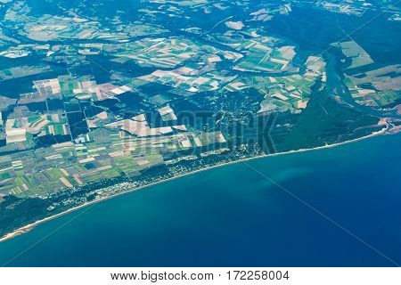 Aerial View Of Bundaberg And Great Sandy Marine Park