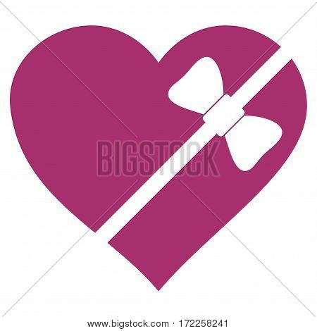 Tied Love Heart flat icon. Vector purple symbol. Pictograph is isolated on a white background. Trendy flat style illustration for web site design logo ads apps user interface.
