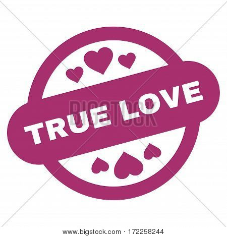 True Love Stamp Seal flat icon. Vector purple symbol. Pictograph is isolated on a white background. Trendy flat style illustration for web site design logo ads apps user interface.