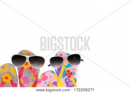 beach shoes with sunglasses isolated on white background