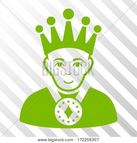 Eco Green King interface toolbar pictogram. Vector pictogram style is a flat symbol on diagonally hatched transparent background.
