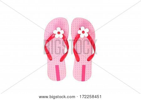 Beautiful pink beach shoes isolated on white background