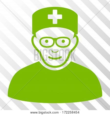 Eco Green Medical Specialist toolbar icon. Vector pictogram style is a flat symbol on diagonally hatched transparent background.
