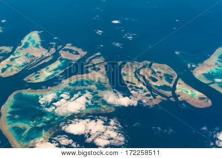 Aerial View Of Muirhead Reef. Great Barrier Reef. Australia