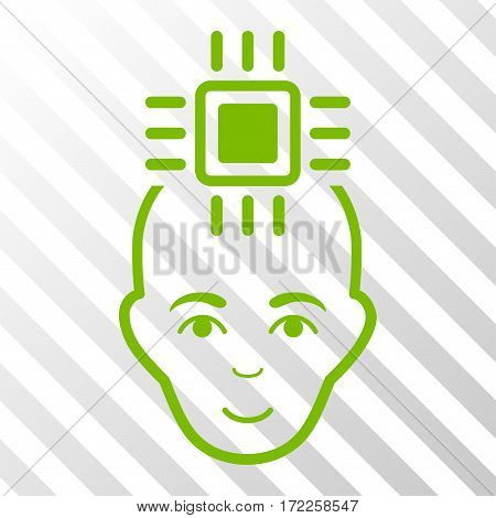 Eco Green Neural Computer Interface toolbar icon. Vector pictograph style is a flat symbol on diagonal hatch transparent background.
