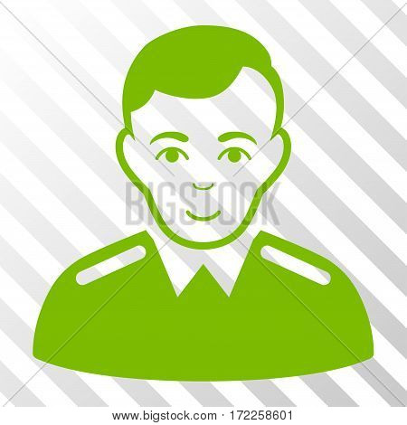 Eco Green Officer interface toolbar icon. Vector pictogram style is a flat symbol on diagonal hatch transparent background.