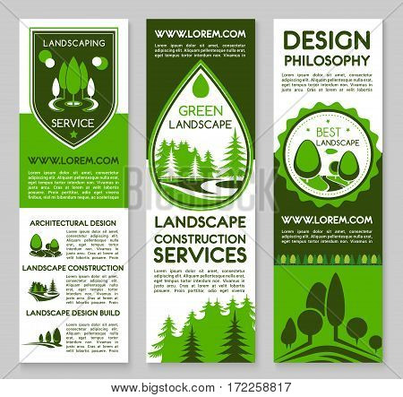 Landscape and planting project design service vector banners. For home or garden green plants and trees architecture or environment build or horticulture and gardening company