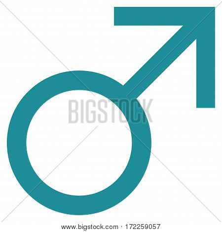 Mars Male Symbol flat icon. Vector soft blue symbol. Pictograph is isolated on a white background. Trendy flat style illustration for web site design logo ads apps user interface.