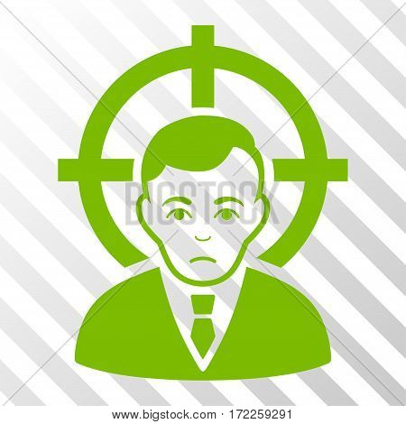Eco Green Victim Businessman toolbar pictogram. Vector pictogram style is a flat symbol on diagonally hatched transparent background.