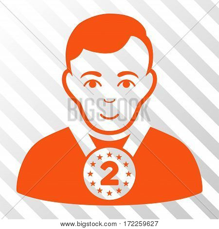Orange 2nd Prizer Sportsman interface toolbar icon. Vector pictogram style is a flat symbol on diagonal hatch transparent background.