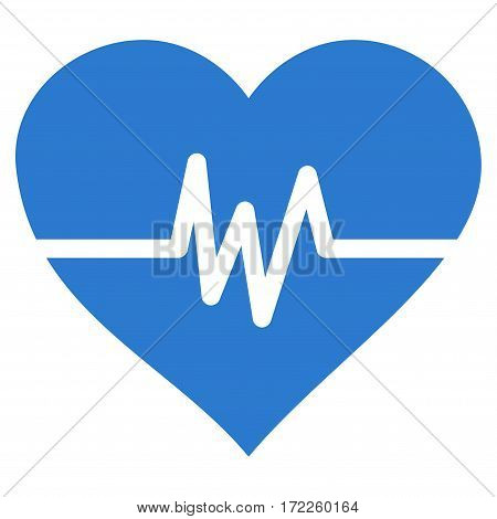 Heart Pulse flat icon. Vector smooth blue symbol. Pictogram is isolated on a white background. Trendy flat style illustration for web site design logo ads apps user interface.