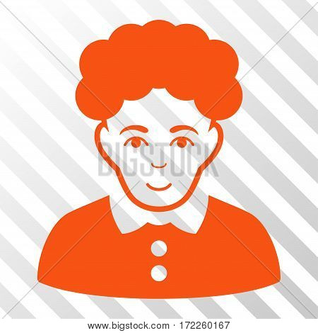 Orange Brunette Woman interface icon. Vector pictogram style is a flat symbol on diagonally hatched transparent background.