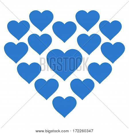 Love Hearts Shape flat icon. Vector smooth blue symbol. Pictograph is isolated on a white background. Trendy flat style illustration for web site design logo ads apps user interface.