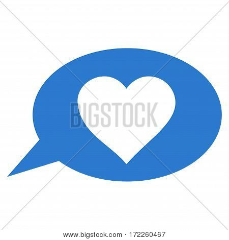 Love Message Balloon flat icon. Vector smooth blue symbol. Pictograph is isolated on a white background. Trendy flat style illustration for web site design logo ads apps user interface.