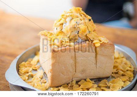 Dessert toast with corn flake ice cold