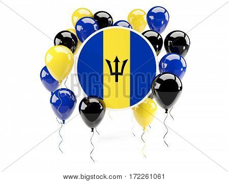 Round Flag Of Barbados With Balloons