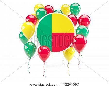 Round Flag Of Benin With Balloons