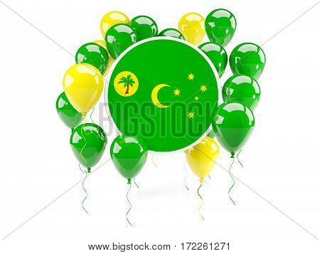 Round Flag Of Cocos Islands With Balloons