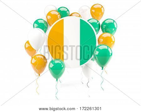 Round Flag Of Cote D Ivoire With Balloons