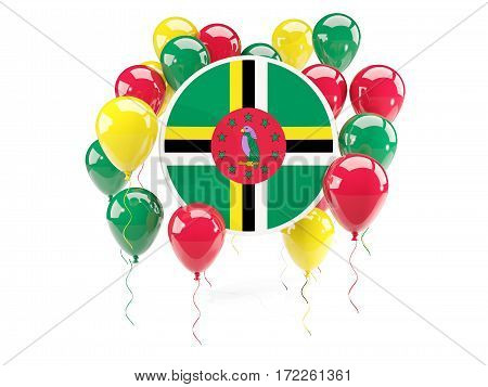 Round Flag Of Dominica With Balloons