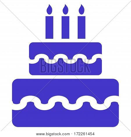 Birthday Cake flat icon. Vector violet symbol. Pictogram is isolated on a white background. Trendy flat style illustration for web site design logo ads apps user interface.
